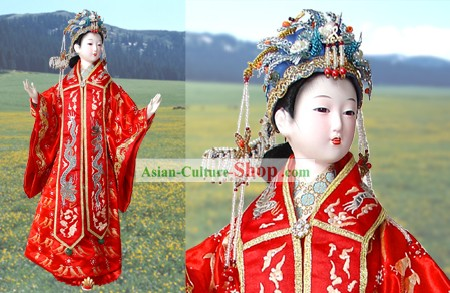 Large Handmade Peking Silk Figurine Doll - Ming Dynasty Empress