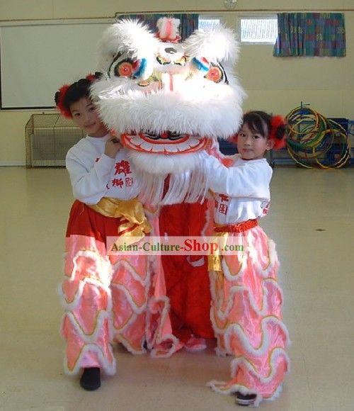 Professional Long Wool Kids Lion Dance Costumes Complete Set