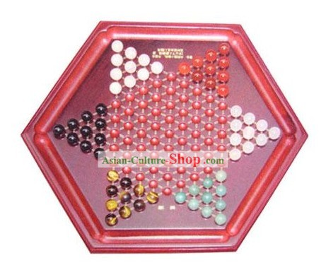 Classic Natural Agate and Wood Chinese Checkers Set