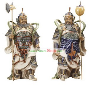Chinese Classical Shiwan Statues-Door God Pair (2 Statues Set)