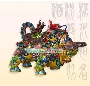 Chinese Cochin Ceramics Statue-Golden Ox