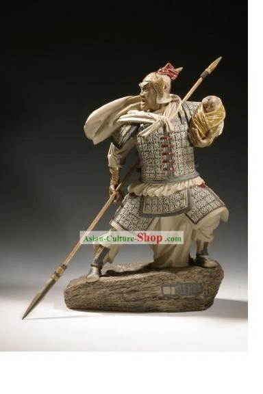 Chinese Classic Shiwan Ceramics Statue Arts Collection - Zhao Zilong