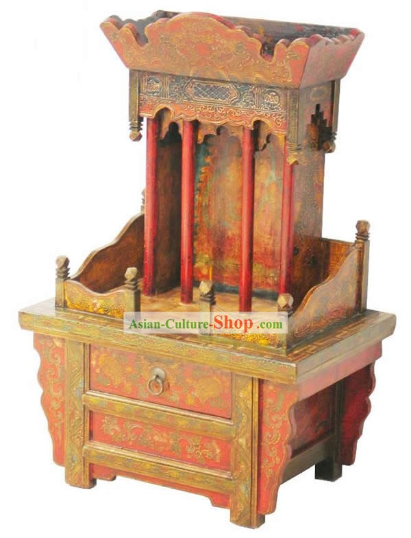 Hand Made and Painted Large Tibet Alter Cabinet