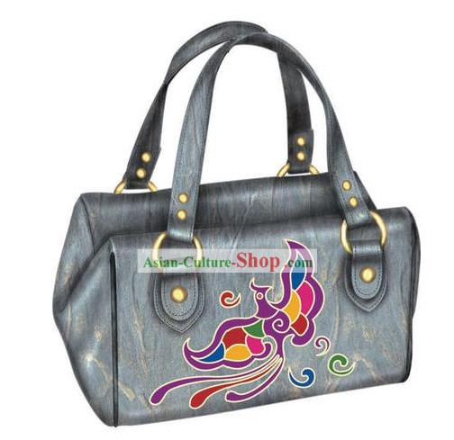 Hand Made and Embroidered Chinese Miao Minority Handbag for Women - Gray Phoenix