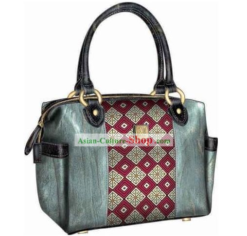 Hand Made and Embroidered Chinese Miao Minority Handbag for Women - Grid