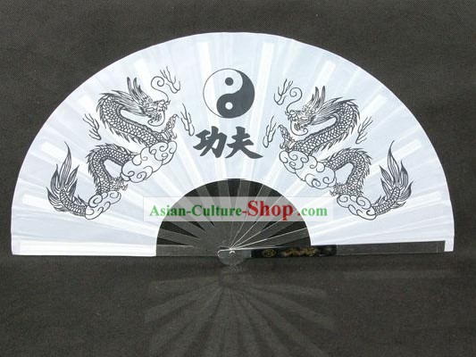 Chinese Professional Stainless Steel Taiji and Kung Fu Dragon Fan