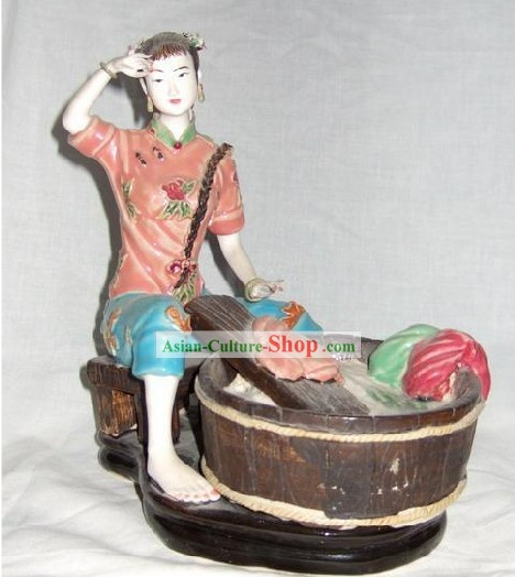 Chinese Classical Shiwan Statue - Ancient Lady Washing Clothes