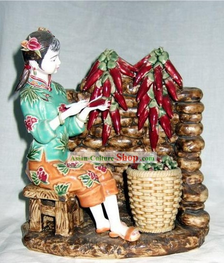 Chinese Classical Shiwan Statue - Lady and Hot Pepper