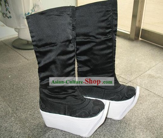 Chinese Traditional Ancient Handmade Beijing Opera Thick Sole Black Boots for Men