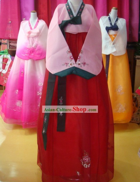 Traditional Korean Hanbok Complete Set for Women (red and pink)