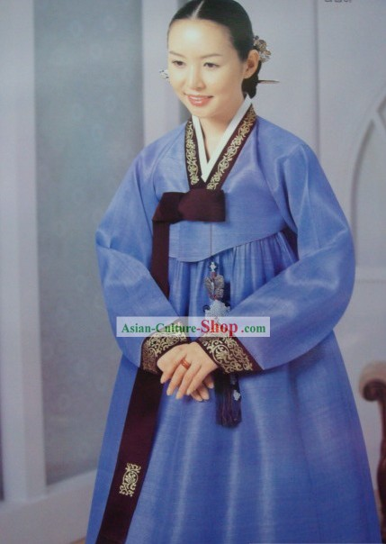 Korean Classic 100 Percent Handmade Korean Hanbok for Woman (deep blue)