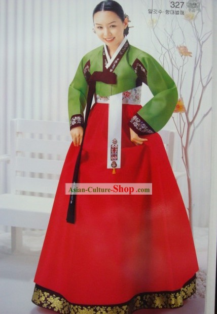 Korean Classic 100 Percent Handmade Korean Hanbok for Woman (green)