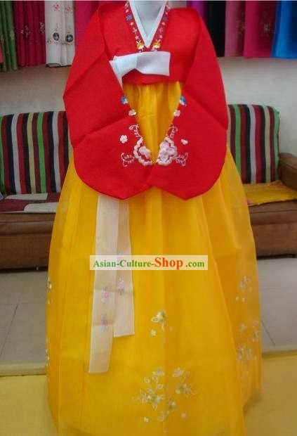 Korean Classic 100% Handmade Korean Hanbok Tang Dress-Gold Beauty