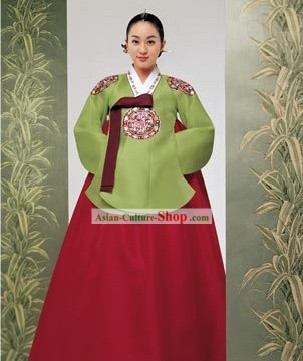 Korean Classic 100% Handmade Embroidery Korean Hanbok Tang Dress-Dragon Beauty