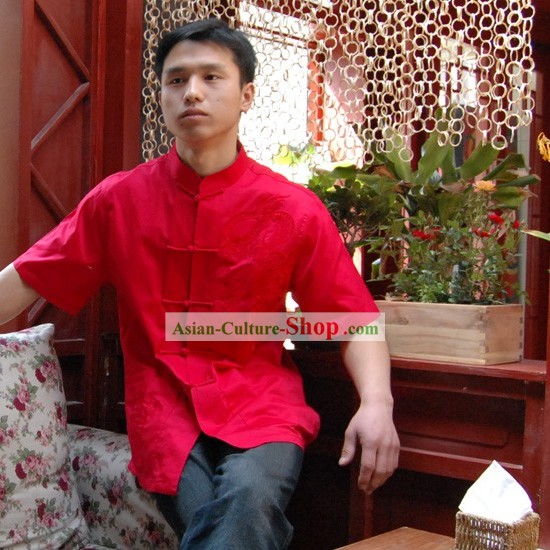 Chinese Classical Mandarin Style Short Handed Red Flax Dragon Shirt