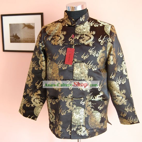 Chinese Classical Hand Embroidered Black Dragon Blouse