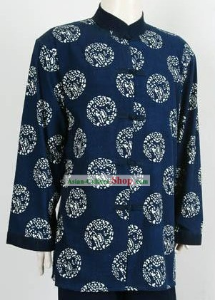 Chinese Traditional Batik Dragon Blouse for Men