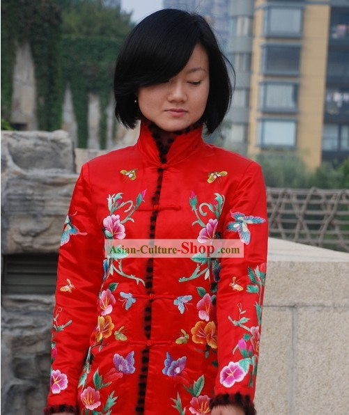 Chinese Traditional Lucky Red Embroidered Floral Blouse