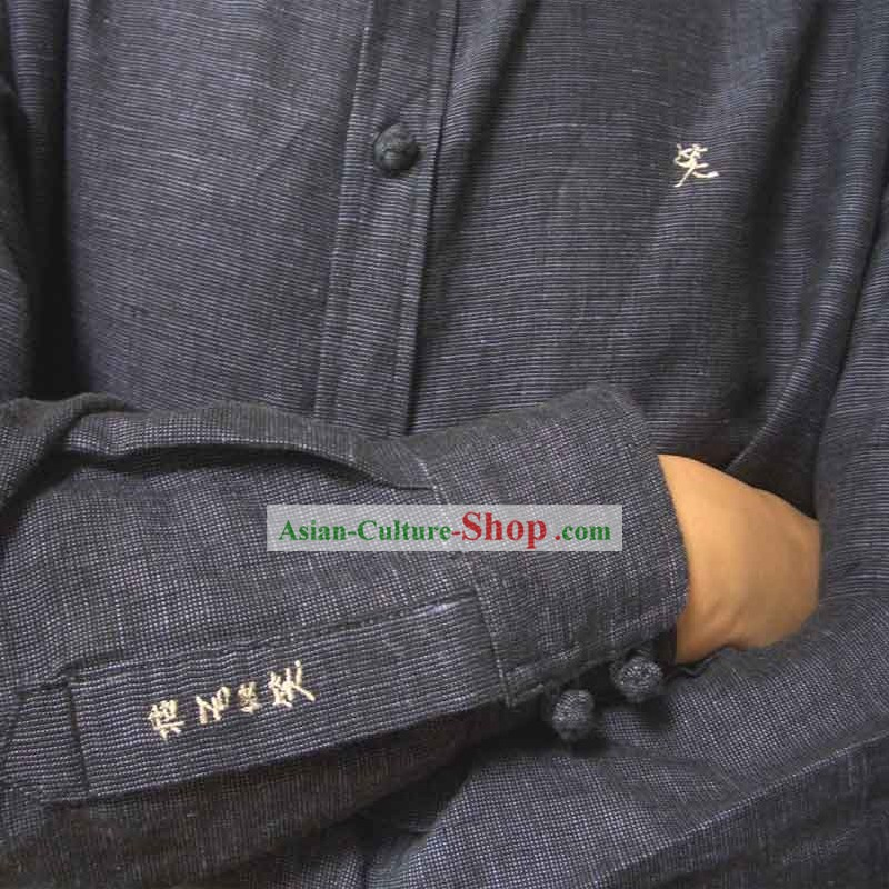 Chinese Mandarin Handmade Flax Blouse for Men