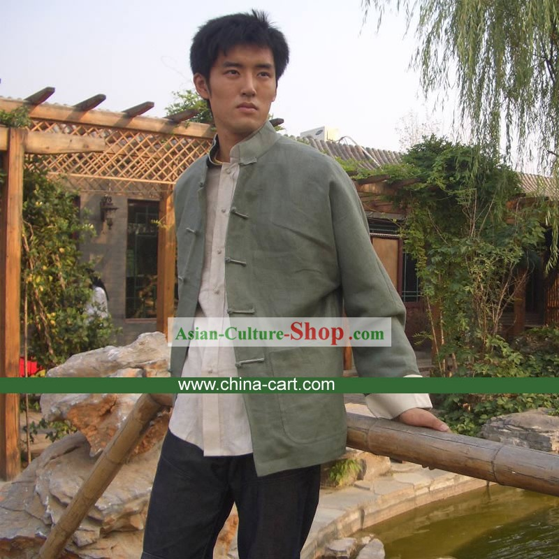 Chinese Classical Mandarin Handmade Flax Blouse for Men
