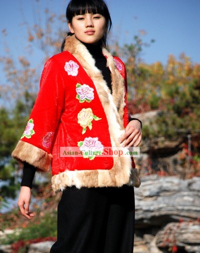 Chinese Traditional Mandarin Handmade Rabbit Fur Long Peony Blouse