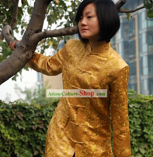 Chinese Stunning Handmade and Embroidered Gold  Floral Long Silk Overcoat for Women