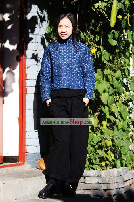 Chinese Traditional Blue Folk Cotton Blouse for Women