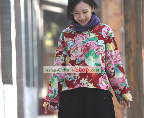 Chinese Traditional Folk Cotton Peony Blouse for Women