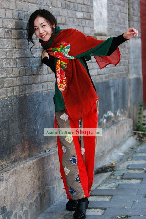 Chinese Traditional Folk Cotton Handmade Trousers for Women