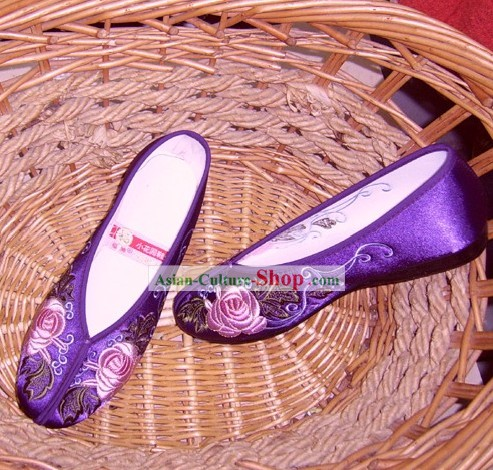 Chinese Traditional Handmade Embroidered Princess Satin Shoes (peony, black)