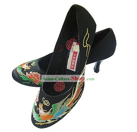 Chinese Classical Handmade and Embroidered Dragon and Phoenix High Heel Shoes