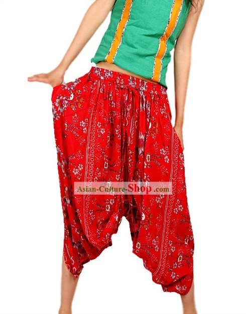 Unique Design Lucky Red Flowery Skirt and Trousers