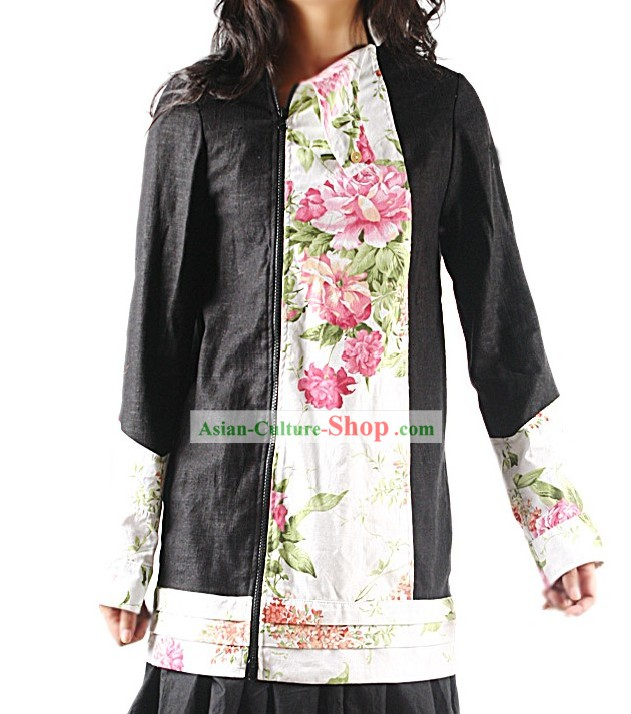 Handmade Collar Large Peony Cotton Blouse
