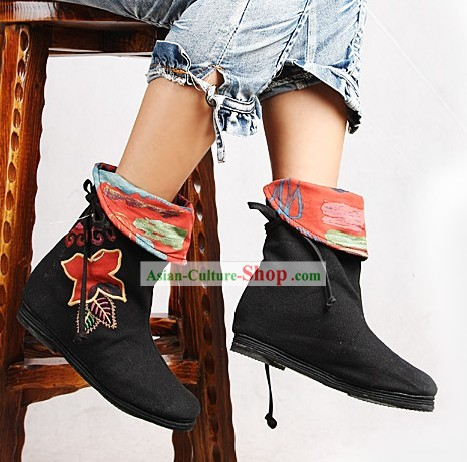 Handmade and Embroidered Long Cloth Boots