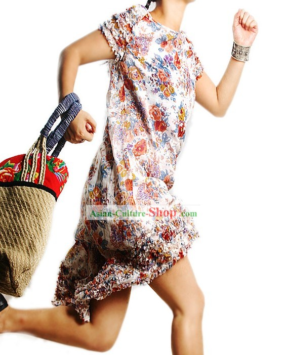 Handmade Traditional Flowery Long One-piece Skirt