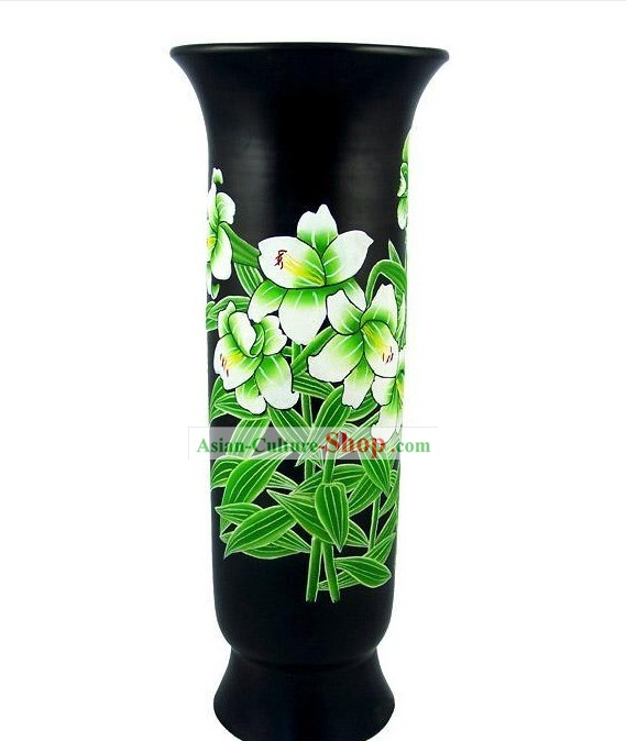 Chinese Traditional Longshan Black Pottery - Lily Vase