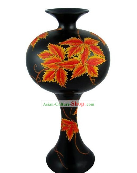 Chinese Traditional Longshan Black Pottery - Maple Leaf