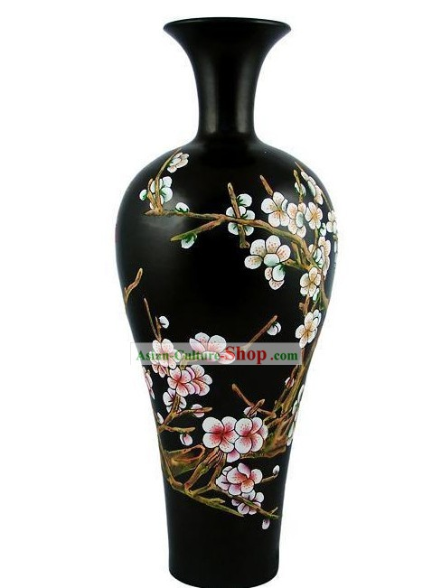 Chinese Traditional Longshan Black Pottery - Plum Blossom