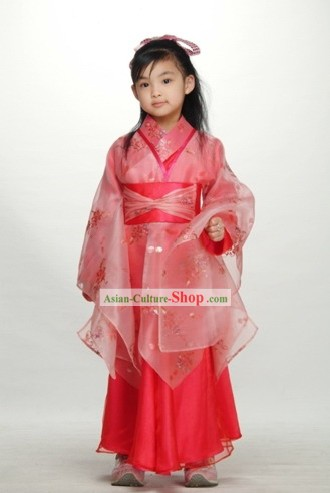 Chinese Happy New Year Celebration Ancient Lucky Red Costumes for Children
