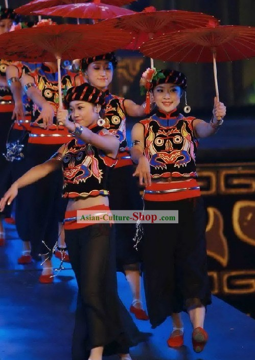 Chinese Traditional Minority Dance Hat and Costumes For Women