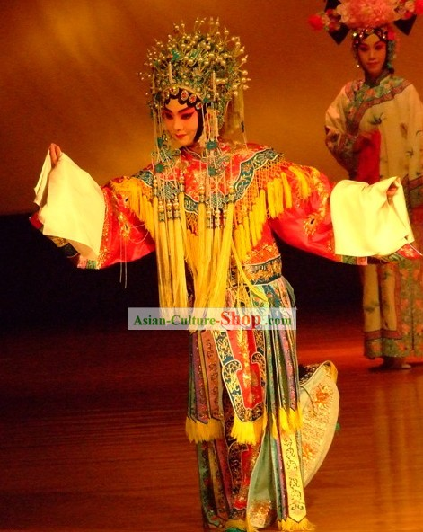 Supreme Chinese Yang Yuhuan Costumes and Helmet Decoration Complete Set