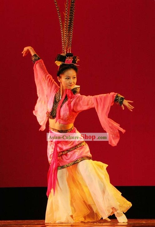 Chinese Classic Han Dynasty Dance Costumes with Long Feather Hat