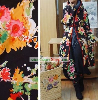 Supreme Chinese Long Yellow Flowery Handmade Winter Cotton Jacket