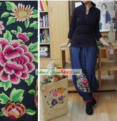 Supreme Chinese Handmade and Embroidered Peony Trousers