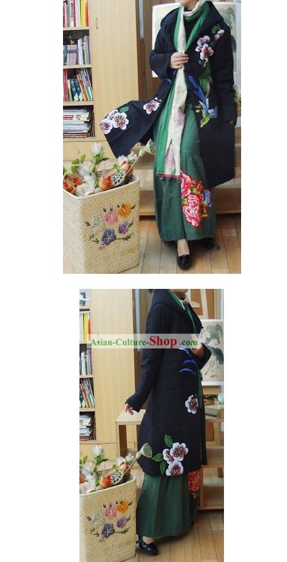 Supreme Chinese Handmade Bird and Flower Long Outercoat for Women