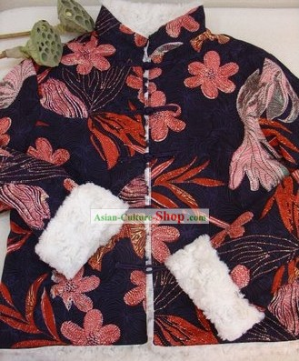 Supreme Chinese Handmade Lotus Winter Cotton Jacket for Women