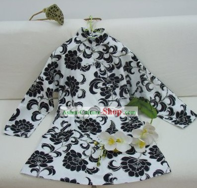 Supreme Chinese Classic Handmade Iris Flower Long Cotton Blouse