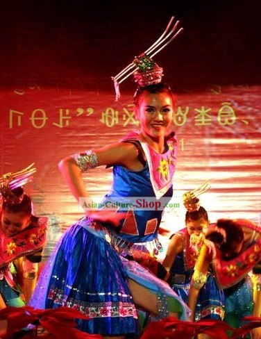 Chinese Traditional Minority Dance Dress Complete Set
