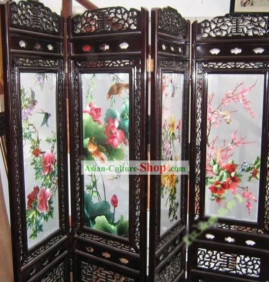 Supreme Chinese Hands Embroidered Four Seasons Folding Screen