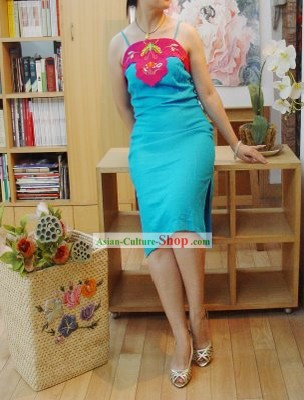 Chinese Classic Embroidered Butterfly Flake Cotton and Flax Cheongsam